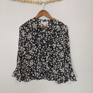 Allison Taylor black white floral button front top